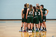 St. Johnsbury huddles together during the girls basketball game between the St. Johnsbury Hilltoppers and the Essex Hornets at Essex high school on Tuesday night January 5, 2016 in Essex. (BRIAN JENKINS/for the FREE PRESS)