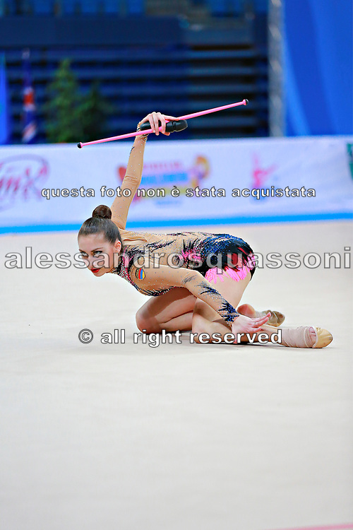 Harutyunyan Lilit during qualifying at ribbon in Pesaro World Cup 11 April 2015. Lilit is an Armenian rhythmic gymnastics athlete born  May 5, 1995 in Erevan,  Armenia.