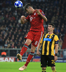 07.11.2018, Champions League, FC Bayern vs AEK Athen, Allianz Arena  Muenchen,  Fussball, Sport, im Bild:..Javier Martinez (FCB) vs Petros Mantalos ( AEK Athen )...DFL REGULATIONS PROHIBIT ANY USE OF PHOTOGRAPHS AS IMAGE SEQUENCES AND / OR QUASI VIDEO...Copyright: Philippe Ruiz..Tel: 089 745 82 22.Handy: 0177 29 39 408.e-Mail: philippe_ruiz@gmx.de. (Credit Image: © Philippe Ruiz/Xinhua via ZUMA Wire)