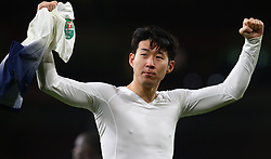 December 19, 2018 - London, England, United Kingdom - London, UK, 19 December, 2018.Tottenham Hotspur's Son Heung-Min celebrate they win.during Carabao Cup Quarter - Final between Arsenal and Tottenham Hotspur  at Emirates stadium , London, England on 19 Dec 2018. (Credit Image: © Action Foto Sport/NurPhoto via ZUMA Press)