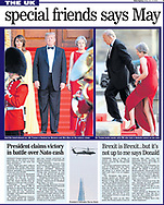 Mr Trump holds hands with PM