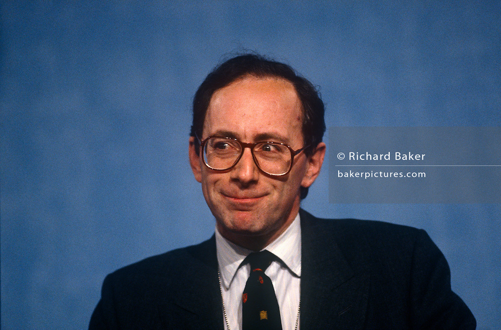 Secretary of State for Transport and Conservative MP, Malcolm Rifkind at the Conservative party conference on 11th October 1991 in Blackpool, England.