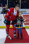 KELOWNA, CANADA - MARCH 09: Third Star of the Game Schael Higson #21 of the Kelowna Rockets at the Kelowna Rockets game on March 09, 2019 at Prospera Place in Kelowna, British Columbia, Canada. (Photo By Cindy Rogers/Nyasa Photography, *** Local Caption ***