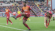 Greg Leigh (Bradford) clears the ball from an early second half attack by Chesham during the The FA Cup match between Bradford City and Chesham FC at the Coral Windows Stadium, Bradford, England on 6 December 2015. Photo by Mark P Doherty.