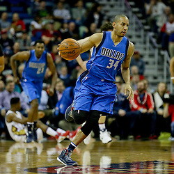 Jan 6, 2016; New Orleans, LA, USA; Dallas Mavericks guard Devin Harris (34) drives with the ball against the Dallas Mavericks during the first quarter of a game at the Smoothie King Center. Mandatory Credit: Derick E. Hingle-USA TODAY Sports
