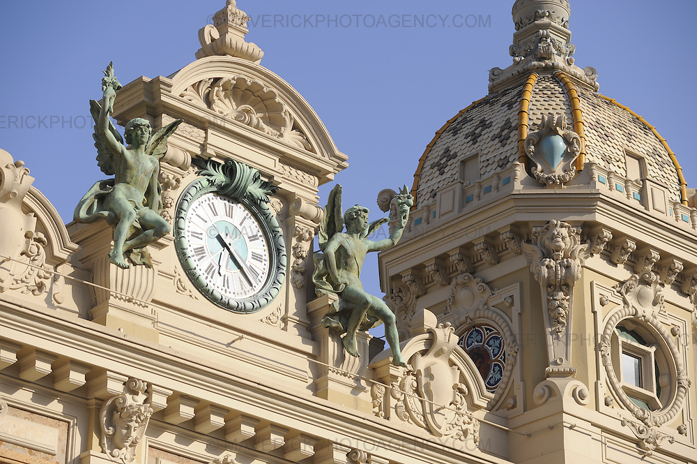 General view of statues on the roof of the Casino in Monaco, Monte Carlo.