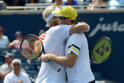 August 12, 2018 - Toronto, Ontario, Canada - Henri Kontinen and John Peers after the Rogers Cup tennis tournament doubles final in Toronto Canada. (Credit Image: © Christopher Levy via ZUMA Wire)