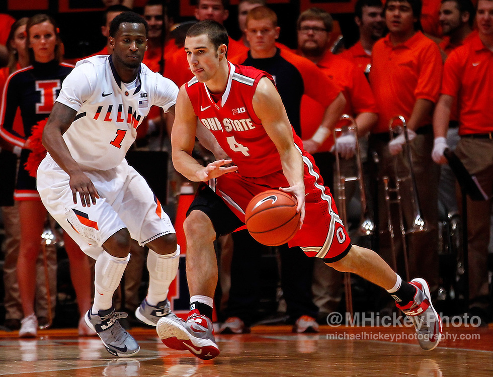 CHAMPAIGN, IL - JANUARY 05: Aaron Craft #4 of the Ohio State Buckeyes dribbles the ball against D.J. Richardson #1 of the Illinois Fighting Illini at Assembly Hall on January 5, 2013 in Champaign, Illinois. Ilinois defeated Ohio State 74-55. (Photo by Michael Hickey/Getty Images) *** Local Caption *** Aaron Craft; D.J. Richardson