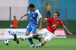 Nebojsa Kovacevic (8) of Gorica and Nikola Tolimir (22) of Rudar  at 3rd Round of PrvaLiga Telekom Slovenije between NK HIT Gorica vs NK Rudar Velenje, on August 1, 2008, in Nova Gorica, Slovenija. Rudar won the match 2:0. (Photo by Vid Ponikvar / Sportal Images)