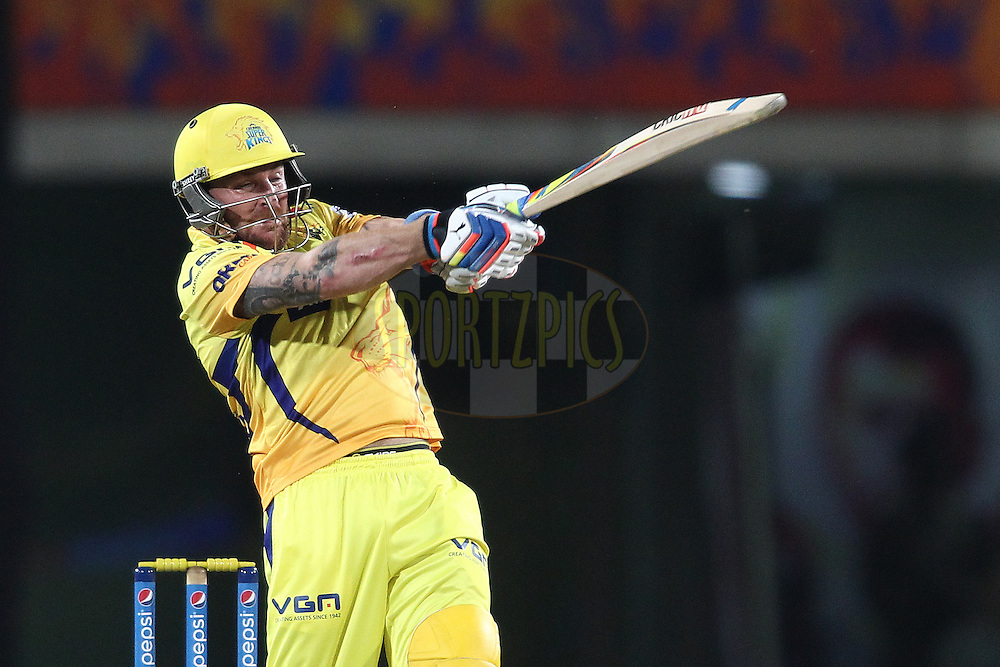 Brendon McCullum of The Chennai Super Kings  pulls a delivery to the boundary during match 21 of the Pepsi Indian Premier League Season 2014 between the Chennai Superkings and the Kolkata Knight Riders  held at the JSCA International Cricket Stadium, Ranch, India on the 2nd May  2014<br /> <br /> Photo by Shaun Roy / IPL / SPORTZPICS<br /> <br /> <br /> <br /> Image use subject to terms and conditions which can be found here:  http://sportzpics.photoshelter.com/gallery/Pepsi-IPL-Image-terms-and-conditions/G00004VW1IVJ.gB0/C0000TScjhBM6ikg