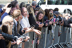 © Licensed to London News Pictures . 30/05/2015 . Manchester , UK . The crowd watch the stars arriving . A public memorial for Coronation Street actress Anne Kirkbride at Manchester Cathedral , who died on 19th January 2015 . Photo credit : Joel Goodman/LNP