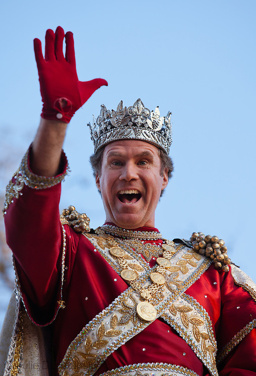 New Orleans, Louisiana, February 19, Will Ferrel, King of the Bacchus Parade for 2012 Mardi Gras rides on the lead float during the parade.