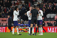 Football - 2018 / 2019 Under-21 International Friendly - England U21 vs. Germany U21<br /> <br /> Englands James Maddison and Demarai Gray question Referee Marco Di Bello after Englands Kyle Walker-Peters was fouled before Germanys scored there winning goal at The Vitality Stadium (Dean Court) Bournemouth England <br /> <br /> COLORSPORT/SHAUN BOGGUST