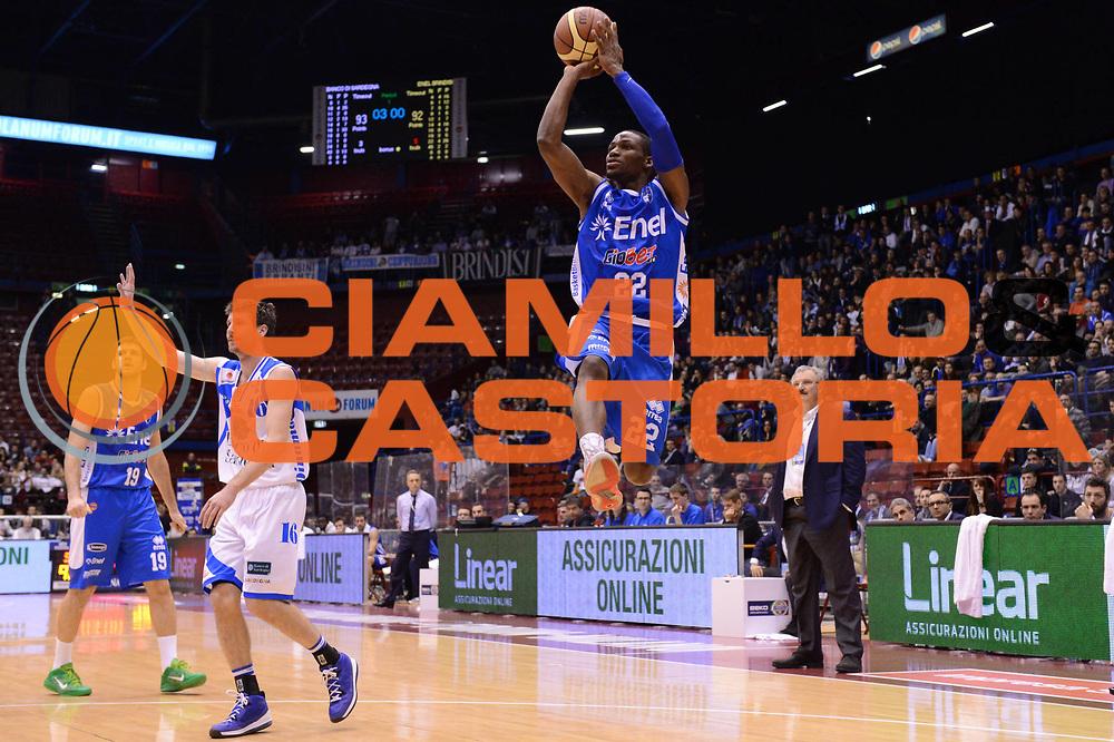 DESCRIZIONE : Milano Coppa Italia Final Eight 2013 Quarti di Finale Banco di Sardegna Sassari Enel Brindisi<br /> GIOCATORE : Jonathan Gibson<br /> CATEGORIA : tiro penetrazione<br /> SQUADRA : Banco di Sardegna Sassari Enel Brindisi<br /> EVENTO : Beko Coppa Italia Final Eight 2013<br /> GARA : Banco di Sardegna Sassari Enel Brindisi<br /> DATA : 08/02/2013<br /> SPORT : Pallacanestro<br /> AUTORE : Agenzia Ciamillo-Castoria/C.De Massis<br /> Galleria : Lega Basket Final Eight Coppa Italia 2013<br /> Fotonotizia : Milano Coppa Italia Final Eight 2013 Quarti di Finale Banco di Sardegna Sassari Enel Brindisi<br /> Predefinita :