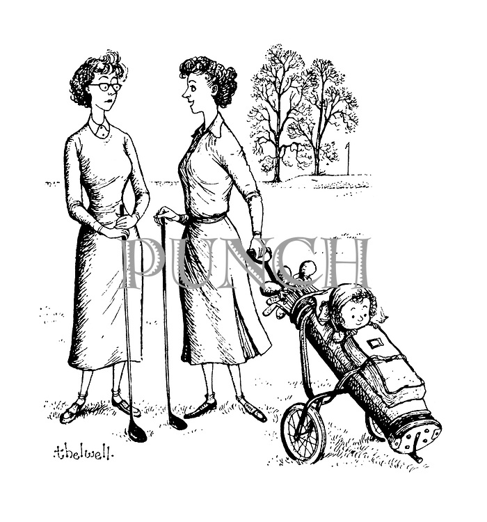 (women golfers with baby)
