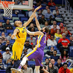 Feb 5, 2018; New Orleans, LA, USA; New Orleans Pelicans forward Nikola Mirotic (3) shoots over Utah Jazz center Rudy Gobert (27) during the second half at the Smoothie King Center. The Jazz defeated the Pelicans 133-109. Mandatory Credit: Derick E. Hingle-USA TODAY Sports