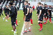 Grimsby Town warming up during the EFL Sky Bet League 2 match between Grimsby Town FC and Port Vale at Blundell Park, Grimsby, United Kingdom on 10 March 2018. Picture by Mick Atkins.