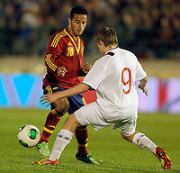 Spain's THiago Alcantara (l) and Norway's Svensson during international sub21 match.March 21,2013. (ALTERPHOTOS/Acero)