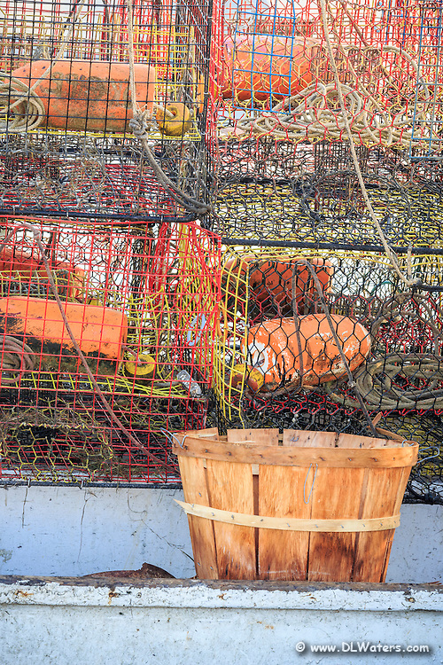 Stacked crab  traps and basket ready for crabbing at  Wanchese Harbor on the Outer Banks.