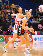 Hayley Saunders of the Tactix competes for the ball with Emily Beaton of the Thunderbirds during the ANZ Championship Netball game between the Mainland Tactix v Adelaide Thunderbirds at Horncastle Arena in Christchurch. 20th April 2015 Photo: Joseph Johnson/www.photosport.co.nz