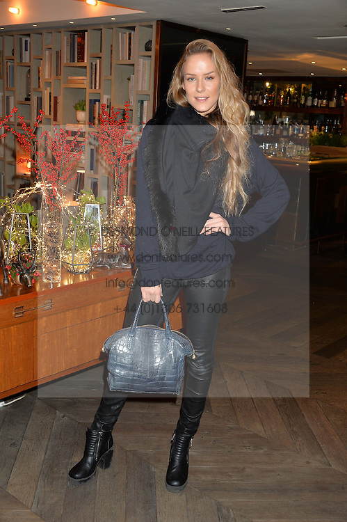 LONDON, ENGLAND 2 DECEMBER 2016: <br /> Hum Fleming at a breakfast attended by a host of influencers, press and VIPs to celebrate the official launch of EVARAE the new British luxury resort wear brand, held at The Hari Hotel, 20 Chesham Place, London.  England. 2 December 2016.