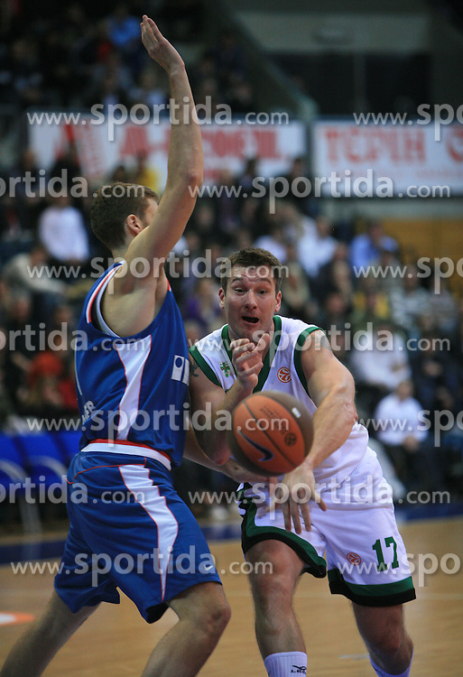 Marko Tusek (17)  Luksa Andric (12)  at Euroleague match between KK Cibona and Air Avellino, on November 26, 2008, in Cibona Tower, Zagreb, Croatia. Match was won by Cibona 82:79. (Photo by Vid Ponikvar / Sportida)
