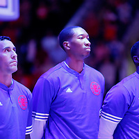 02 October 2015: Los Angeles Clippers guard Pablo Prigioni (9), Los Angeles Clippers guard Wesley Johnson (33), Los Angeles Clippers guard Lance Stephenson (1) are seen  during the national anthem prior to the Los Angeles Clippers 103-96 victory over the Denver Nuggets, in a preseason game, at the Staples Center, Los Angeles, California, USA.