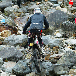 riders in the six day trial at fort william had to concentrate  hard to negotiate the heavy boulders on the lagnaha section near duror in argyll.  The six day trial pits man and machine against the heavy highland terrain with the winner having he best times on each of the stages at the end of the six days. picture kevin mcglynn | STOCKPIX