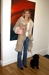 AMARYLLIS MACINTYRE and her dog Lennox at an exhibition of art by Jeffrey Kroll entitled Imirage held at the Arndean Gallery, Cork Street, London on 19th October 2005.<br />