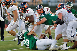 {BLOOMINGTON, IL: Trevor Staley, Jaelin Goldsmith, Mike Murphy, Drew Smith during a college football game between the IWU Titans  and the Wheaton Thunder on September 15 2018 at Wilder Field in Tucci Stadium in Bloomington, IL. (Photo by Alan Look)