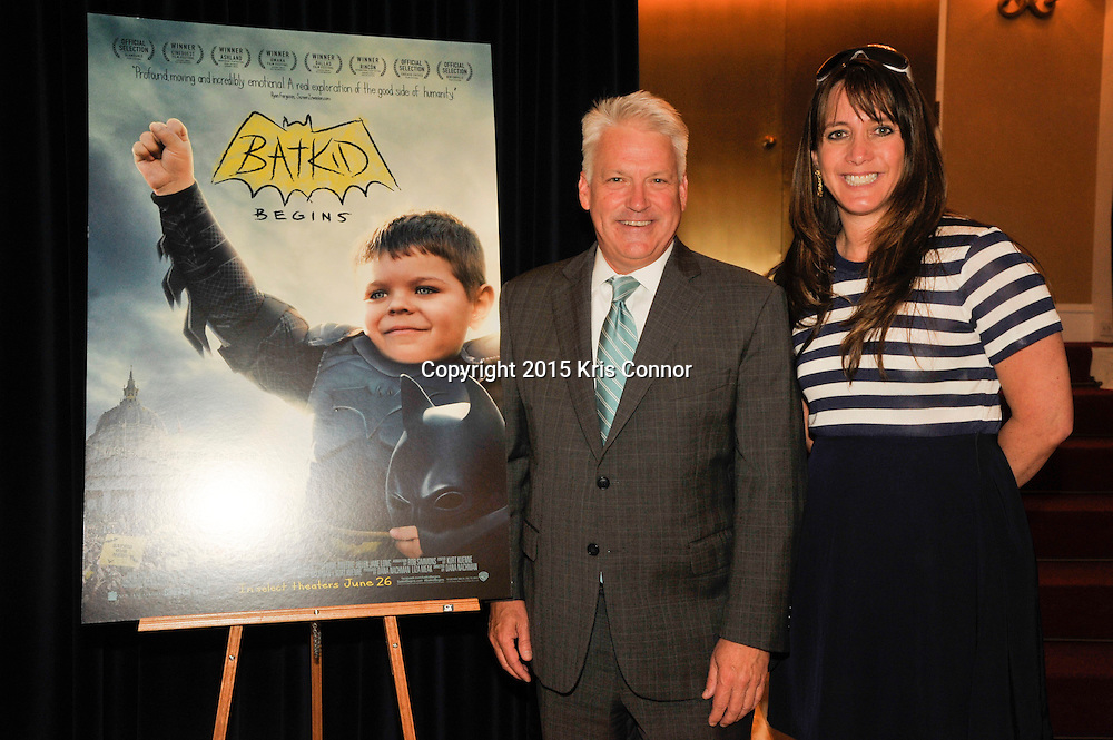 WASHINGTON, DC - JUNE 11: Writer, director and producer Dana Nachman and Steve Vest, Senior Vice President of Global Public Policy at Time Warner Inc, attend the screening of Warner Bros. new documentary 'Batkid Begins' at the Motion Picture Association of America headquarters on June 11, 2015 in Washington DC. (Photo by Kris Connor/ Warner Bros. Pictures)