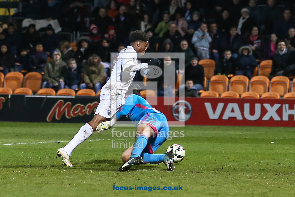 Raul Manola Gudino of Mexico U20 (right) conceedes a penalty for his challenge on Chuba Akpom (left) during the International Friendly match at The Hive Stadium, Harrow<br /> Picture by David Horn/Focus Images Ltd +44 7545 970036<br /> 25/03/2015