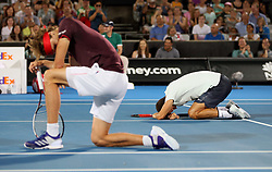 SYDNEY, Jan. 8, 2018  Grigor Dimitrov(R)/Alexander Zverev react during the FAST4 of Sydney International match between Nick Kyrgios/Lleyton Hewitt of Australia and Grigor Dimitrov of Bulgaria/Alexander Zverev of Germany in Sydney, Australia, on Jan. 8, 2018. Nick Kyrgios/Lleyton Hewitt won 2-1. (Credit Image: © Bai Xuefei/Xinhua via ZUMA Wire)