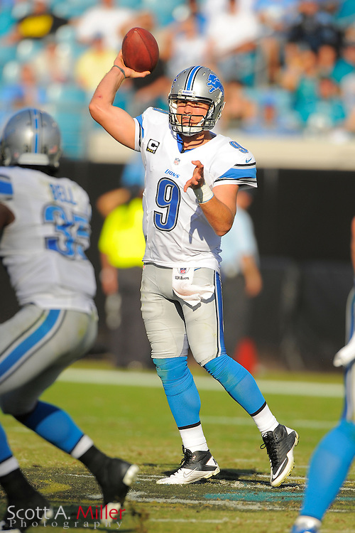Detroit Lions quarterback Matthew Stafford (9) during his team's 31-14 win over the Jacksonville Jaguars at EverBank Field on November 4, 2012 in Jacksonville, Florida. ..©2012 Scott A. Miller..