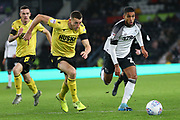 Derby County defender Max Lowe (25) during the EFL Sky Bet Championship match between Derby County and Millwall at the Pride Park, Derby, England on 14 December 2019.