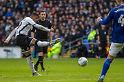 Rhian Brewster of Swansea City shoots at goal during the EFL Sky Bet Championship match between Cardiff City and Swansea City at the Cardiff City Stadium, Cardiff, Wales on 12 January 2020.