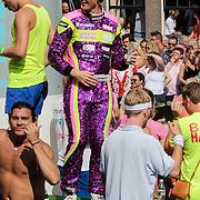 NLD/Amsterdam/20120804 - Canalparade tijdens de Gaypride 2012, racecoureur Mike Verschuur