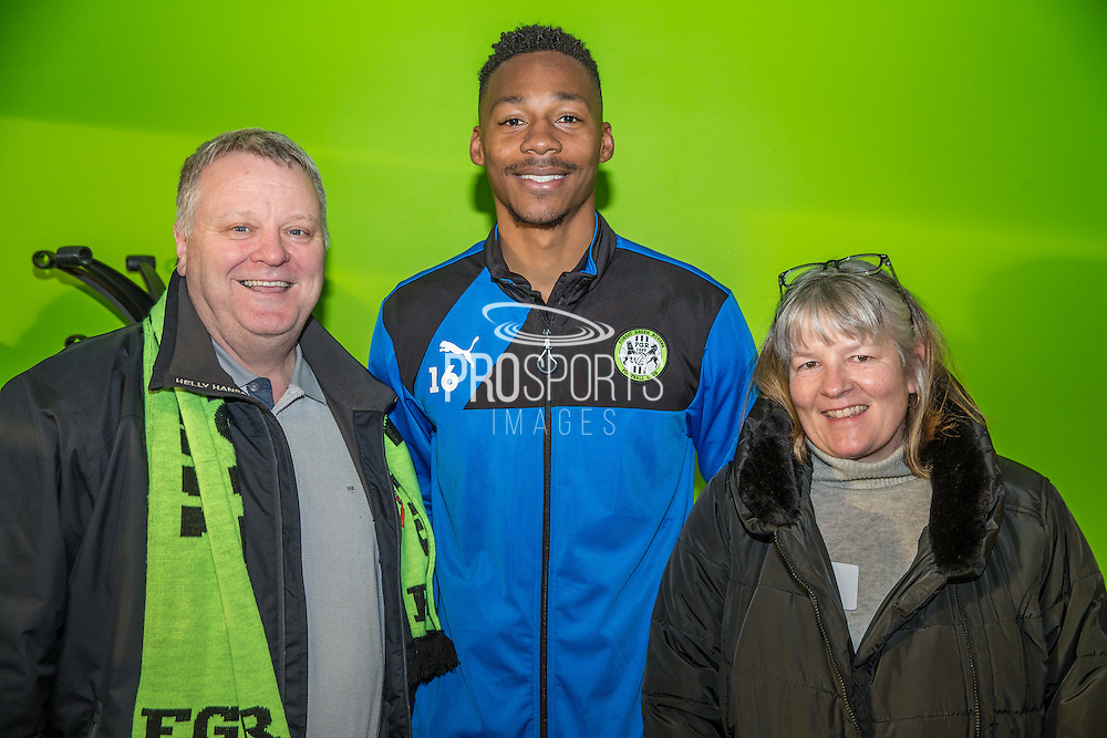Forest Green Rovers Ethan Pinnock(16) with his shirt sponsors during the Vanarama National League match between Forest Green Rovers and Macclesfield Town at the New Lawn, Forest Green, United Kingdom on 4 March 2017. Photo by Shane Healey.