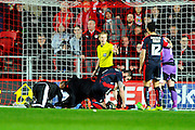 Rotherham United defender Greg Halford being treated for a severe injury during the Sky Bet Championship match between Bristol City and Rotherham United at Ashton Gate, Bristol, England on 5 April 2016. Photo by Graham Hunt.