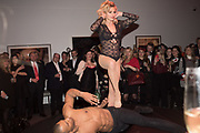 DANCERS: KLODI DABKIEWICZ; LEON FAGBEMI, Sotheby's Erotic sale cocktail party, Sothebys. London. 14 February 2018