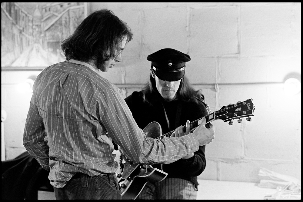 """Fall River, Massachusetts - 18 February 1968. Ian Underwood (left) and Jim """"Motorhead"""" Sherman of The Mothers of Invention prior to a performance. © 2020 Ed Lefkowicz<br /> <br /> For licensing of any of the images in this portfolio go to https://www.mptvimages.com/<br /> <br /> For fine art prints, get in touch with me directly."""
