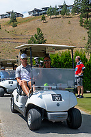 KELOWNA, CANADA - JULY 21: Blake Comeau shares a cart with Mike Large at the Kelowna Rockets Alumni golf tournament at Black Mountain Golf Club in Kelowna, British Columbia, Canada.  (Photo by Marissa Baecker/Shoot the Breeze)  *** Local Caption ***