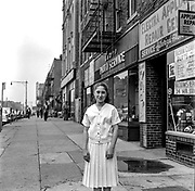 Old New york Street sceene with jewish teenage girl portrait