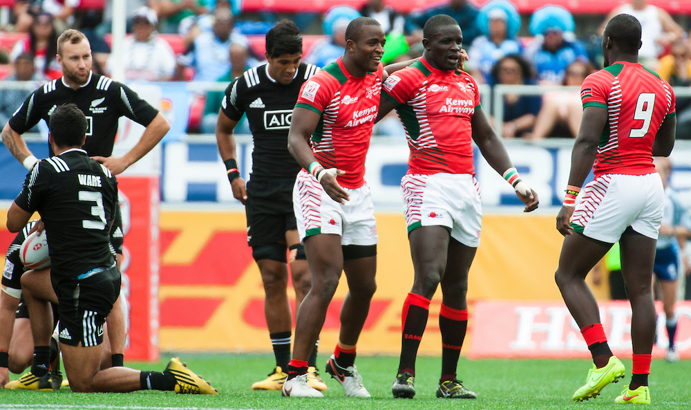Kenya defeat New Zealand during the pool stage of the 2016 USA Sevens leg of the HSBC Sevens World Series at Sam Boyd Stadium  Las Vegas, Nevada. Saturday March 5, 2016.<br /> <br /> Jack Megaw for USA Sevens.<br /> <br /> www.jackmegaw.com<br /> <br /> 610.764.3094<br /> jack@jackmegaw.com