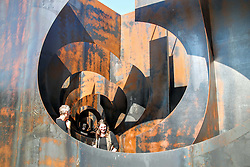 GENK, Sept. 26, 2016 (Xinhua) -- Visitors view ''Labyrinth'', an experimental metal maze installation in Genk, Belgium, on Sept. 26, 2016. With the weight of 186 tons and walls of up to five metres in height, the maze was opened for public visit from July 2015 to September 2016.  (Xinhua/Zhang Yunlong) (zf) (Credit Image: © Zhang Yunlong/Xinhua via ZUMA Wire)