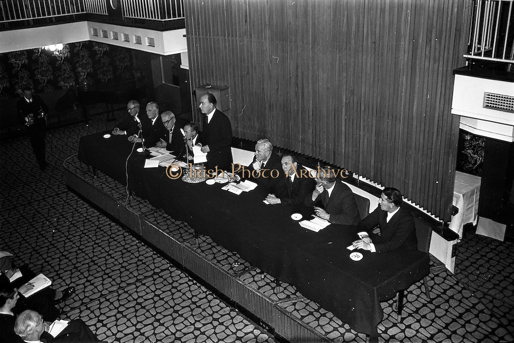 13/02/1963<br /> 02/13/1963<br /> 13 February 1963<br /> International Apprentices Competition Press Conference at the Shelbourne Hotel, Dublin to announce details of the International Trade Competitions for Apprentices to be held in Dublin from 8-13th July 1963. At  the speakers table were (l-r): Leo Crawford, Joint Secretary of the I.C.T.U. and J. Quigley of the Federated Union of Employers; R. Guines, Inspector, Department of Education; M. O'Flanagan, Chief Inspector, Technical Instruction Branch, Department of Education; Dr P.J. Hillery, Minister for Education, who convened the conference; M. Gleeson, CEO, Chairman National Organising Committee; John McCann, Chairman Dublin V.E.C.; J. Agnew, chairman of Cheard Chomhairle and John D. Barry (of Cobh) Department of Education, who is Director of Organisation.