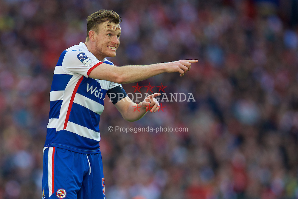 LONDON, ENGLAND - Saturday, April 18, 2015: Reading's captain Alex Pearce in action against Arsenal during the FA Cup Semi-Final match at Wembley Stadium. (Pic by David Rawcliffe/Propaganda)