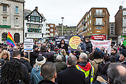 Diane Abbot MP speaking at the Kent anti racism network gathering in the market square Dover protesting against a facist demonstration also taking place in the port town. 30th January 2016