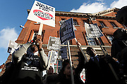 Vigil held for Mark Duggan outside Tottenham police station after a jury returned a verdict of 'lawful killing'.<br /><br />Duggan was shot by police in August 2011 prompting rioting across the UK.<br /><br />Tottenham, London, UK.<br />January 11th 2013<br /><br />Picture by Zute Lightfoot
