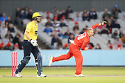 Lancashires Matthew Parkinson during the Vitality T20 Blast North Group match between Lancashire Lightning and Birmingham Bears at the Emirates, Old Trafford, Manchester, United Kingdom on 10 August 2018.